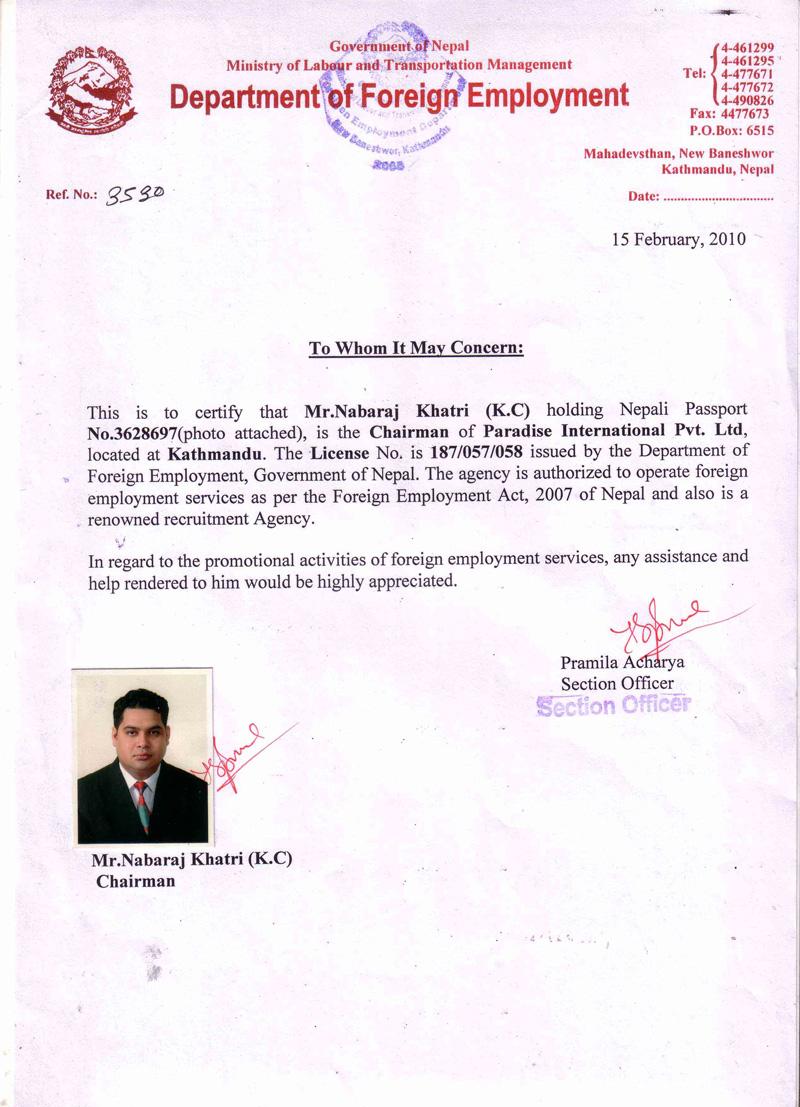 Paradise International Manpower In Nepal Overseas In